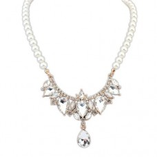 511207 Crystal Gold  Rhinestone Necklace  & Synthetic Pearl