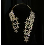 511208-201AB Crystal Flower Necklace in Gold