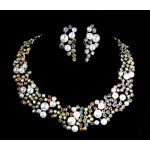 511209-101AB Classique Crystal Silver Necklace Set & Pearl