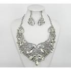 511254-101 Crystal Silver Necklace Set