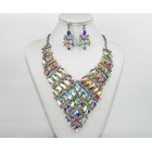 511267-101AB Crystal Silver Necklace Set