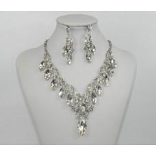 511272-101 Crystal Silver Necklace Set