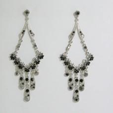 512182 Black Crystal Earring in Silver