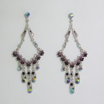 512182 Purple Strass Earring in Silver