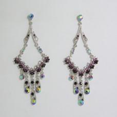 512182 Purple Strass Earring in Silver