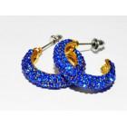512258-215 ROYAL BLUE HOOP EARRING IN GOLD