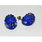 512263-215 BLUE CRYSTAL EARRING IN GOLD