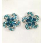512326 Blue Zir. Earring in Silver
