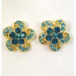 512326 Blue Zir. Earring in Gold