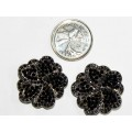 512328-102 BLACK CRYSTAL EARRING IN SILVER
