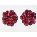 512328-107 RED CRYSTAL EARRING IN SILVER