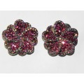 512328-109 PINK CRYSTAL EARRING IN SILVER