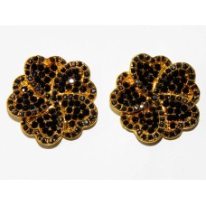 512328-202 BLACK CRYSTAL EARRING IN GOLD