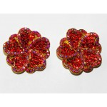 512328-207 RED CRYSTAL EARRING IN GOLD
