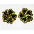 512328-214 GREEN CRYSTAL EARRING IN GOLD