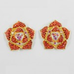 512338 Red in Gold Earring