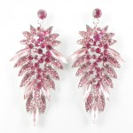 512365 Pink Crystal Earring in Silver