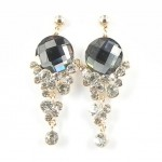 512371 Black Crystal Earring in Rose Gold