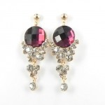 512371 Red Crystal Earring  in Rose Gold