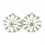 512372-101 White Flower with crystal in Silver Earring
