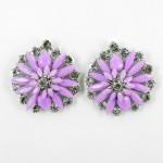 512372-105 Purple Flower with crystal in Silver Earring