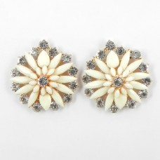 512372-201 White Flower with crystal in Rose Gold Earring