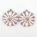 512372-109 Pink Flower with crystal in Silver Earring
