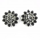 512379-102 Black Flower crystal Earring