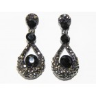 512399-302 Black Crystal Earring in Gun metal