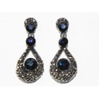512399-317  Navy Crystal Earring in Gun metal