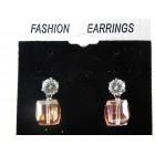 512428-109 Fashion Pink Cube Shape Earring in Silver