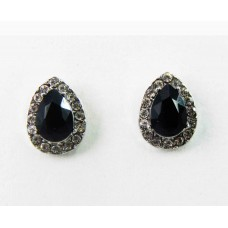 512431-102 Black Drop Shape Earring in Silver