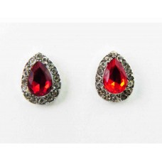 512431-107  Red Drop Shape Earring in Silver