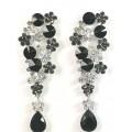 512434-102 Black Crystal Earring in Silver
