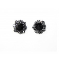 512505-302 Black Crystal Earring in Gun Metal