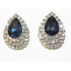 512506-117  Navy Crystal Earring in Silver