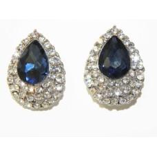 512506-117  Navy Crystal Earring in Silver