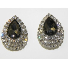 512506-129 Charcoal Crystal Earring in Silver