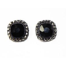 512508-302 Black Crystal Earring in Gun Metal