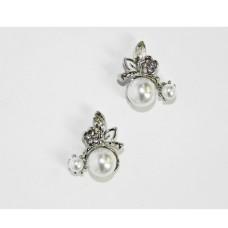 512511-101 Silver Crystal Earring & Pearl