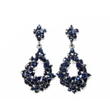 512512-317 Navy Crystal Earring in Gun Metal