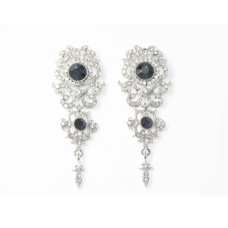 512521-117 Navy Crystal Earring in Silver