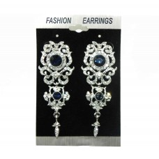 512521-117 Navy Crystal Earring in Silver