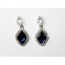 512522-117 Navy Crystal Earring in Silver