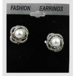 512527-101 Clip on Silver Earring & Pearl
