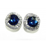 512528-117  Navy Crystal Earring in Silver