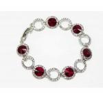 513102 Red Crystal  Bracelet in Silver