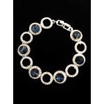 513102-117 Navy Crystal  Bracelet in Silver