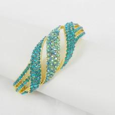 514081-210 Aqua Crystal in Gold Bangle