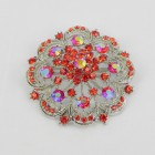 515064 Red in Silver Brooch